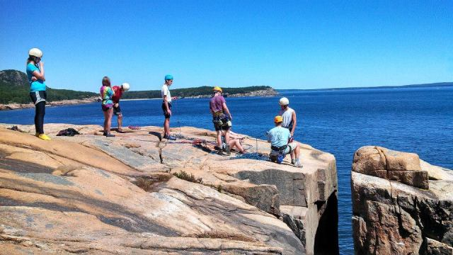 Students rappel in Acadia National Park with Lifelines, the outdoor ministry of Cru.